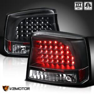 2005 2008 Dodge Charger Led Tail Lights Rear Brake Lamps Black Replacement Pair
