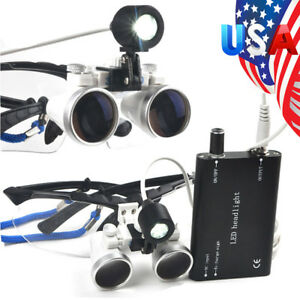 Dental Surgical Binocular Loupes 2 5x 420mm Optical Glass Led Light Magnifier