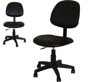 Adjustable All Purpose Black Leather Chair Office Desk Steno Computer Furniture