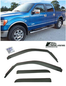 In Channel Window Visors Side Rain Guard Deflectors For 09 14 Ford F150 Crew Cab
