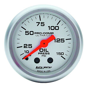Auto Meter Ultra Lite Mechanical Oil Pressure Gauge 2 1 16 52mm 0 150 Psi
