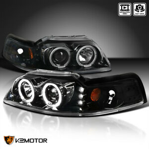 jet Black 1999 2004 Ford Mustang Led dual Halo Projector Headlights Left right