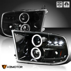 Jet Black 2009 2018 Ram 1500 2500 3500 Led Dual Halo Projector Headlights Pair