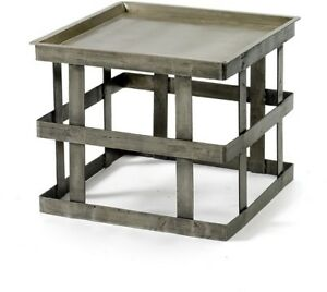 Square Silver Side Table Metal Coffee Console End Table