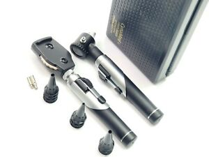 Professional Fiber Optic Ophthalmoscope otoscope Ent Diagnostic Set led 2 Bulb