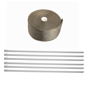 Titanium Exhaust Header Pipe Heat Wrap Tape 2in 25ft 6 Stainless Ties Kit