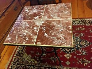Antique Heavy Wrought Iron Tile Side End Table Plant Night Stand Marbleized Us