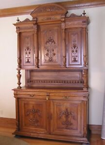Antique Walnut Hunt Cabinet Hutch Buffet Server Sideboard Carved Middle 1800s