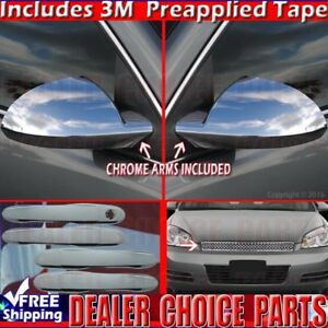 2006 09 10 11 12 2013 Chevy Impala Chrome Door Handle Covers Grill Top Mirrors