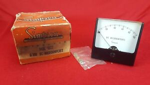 Vintage Nos Simpson Model 1327 Dc Microamperes 0 100 Panel Mount Meter
