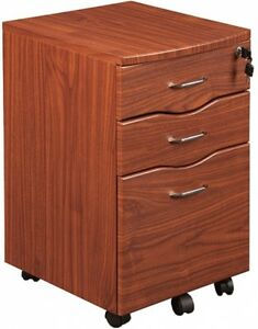Locking File Cabinet Portable Filing Wood Organizer Rolling Home Office Mahogany