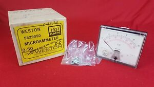 Vintage Nos Weston Model 1931 Dc Microammeter 0 10 0 30 Panel Mount Meter