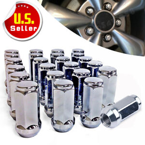 24 Chrome Truck Lug Nuts 14x1 5 Cone Seat For Chevrolet Silverado Gmc Sierra