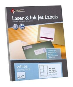 Maco Ml0600 Laser ink Jet Shipping Labels 3 1 X 4 6 sheet 600 box