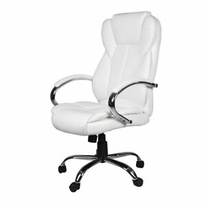 White High Back Office Chair Executive Task Ergonomic Computer Desk Pu Leather