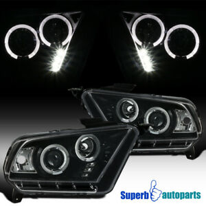 10 14 Ford Mustang Halo Led Projector Headlights Shiny Black W Clear Lens