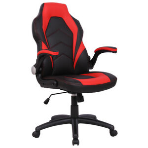 Ergonomic Office Chair Pu Race Car Style Bucket Seat Gaming Desk Task Red New