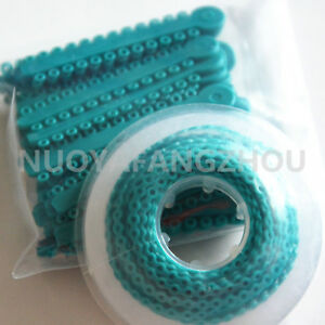Dental Orthodontic Elastic Braces Rubber Ligature Ties Power Chain O ring Teal