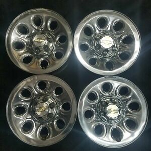 A Set 17 Chevy Silverado Suburban 1500 Tahoe 05 14 Chrome Steel Wheel Rim 5223