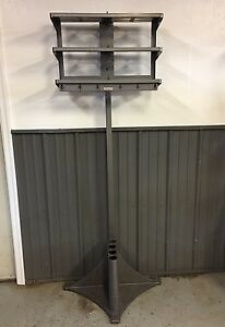 Vintage Mcm Vogel Office Valet Metal Industrial Coat Rack W shelves Steampunk 2