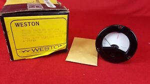 Vintage Nos Weston Model 2521 Microamperes Red Line Raytheon Panel Mount Meter