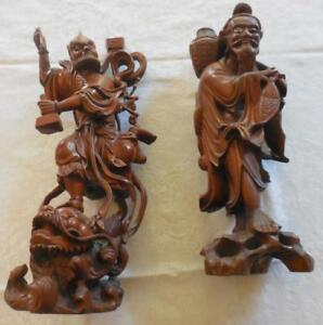 2 Antique Chinese Immortal Statues Wooden Fisherman King Of Ghosts