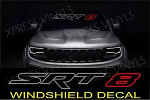 Srt 8 Windshield Vehicle Vinyl Decal Sticker Banner Outline Silver Red Graphic