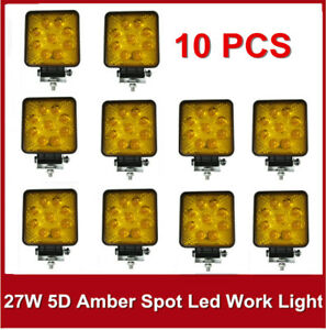 10x 27w 5d 4 Amber Square Led Work Light Spot Fog Lamp Jeep Offroad Boat Yellow