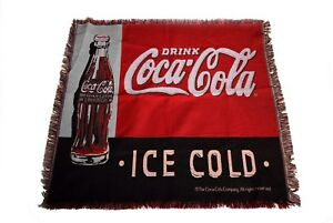Drink Coca Cola Ice Cold Fringe Throw Blanket Wall Hanging 65