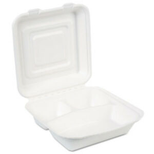 Ecosmart Molded Fiber Food Containers 3 Comp 9 1 32 X 2 5 32 Color White Durable