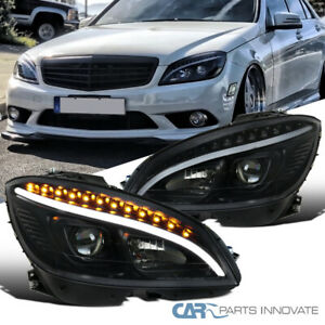 08 11 Benz W204 C Class Black Projector Headlights Head Lamps Pair W Led Signal