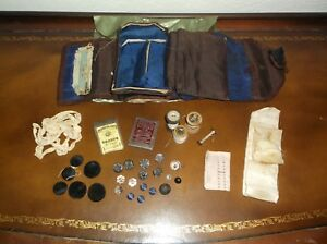 Early 1800 S Sewing Kit 23 Antique Buttons Thread Needles Wax And Lace