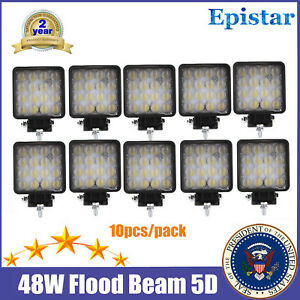 10x 48w Led Work Light Fog Driving Flood Beam 5d Square Jeep Offroad 4wd Boat Tp