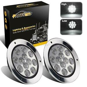 2xwhite 12led Truck Trailer Backup Reverse Marker Lights 4 Round W Chrome Rings
