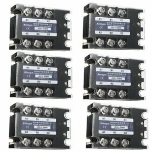 6pcs 3 Phase Solid State Relay 40a Ssr Output 24 480v Ac Dc ac 3 32v Dc Control
