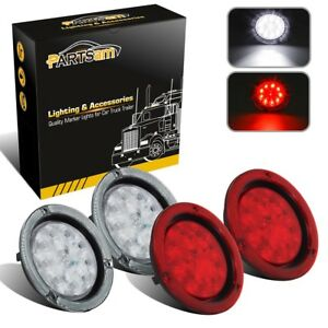 4pc Red White 4 10 Led Stop Turn Tail Backup Light Truck Trailer W Flange Mount