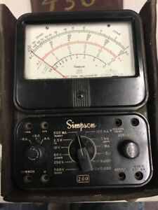 Simpson Model 260 Series 3 Volt ohm Milliammeter Tested Works W case w5
