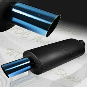 3 Slant Blue Tip Black Stainless Steel T 304 Weld On Exhaust Muffler 2 5 Inlet