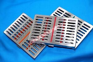 German 3 Dental Sterilization Cassette Rack Tray Box For 10 Surgical Instruments