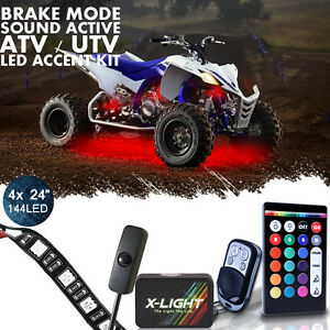 18 Color Led Rzr Xp 1000 Atv Utv Quad 4 Wheeler 4pc Led Neon Glow Lighting Kit