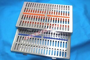 German 2 Dental Sterilization Cassette Rack Tray Box For 20 Surgical Instruments