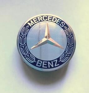 New Oem Mercedes Benz 75mm Dark Blue Wreath Wheel raised Star Center Hub Cap
