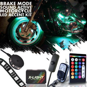 12pc Motorcycle Led Under Glow Light Kit Multi color Neon Strip Remote Control