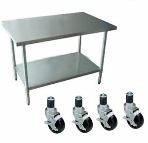 Work Table With 4 Casters Wheels Stainless Steel Food Prep Worktable 24 X 24