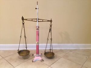 Antique 19th C Hunt Co London Pink Porcelain Candy Grocery Balance Scale