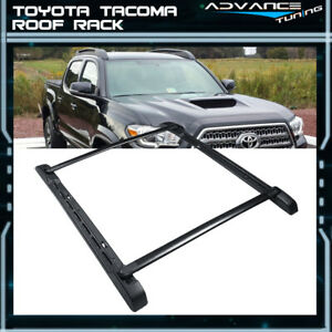 For 05 18 Toyota Tacoma Double Cab Black Stowaway Roof Rail Crossbars Rack Kit