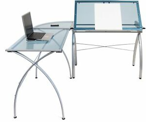 Glass Top Drafting Table Work Center Home Office Table