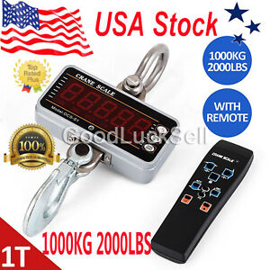 1000kg 2000lbs Aluminum Digital Crane Scale Heavy Duty Hanging Remote Control Us