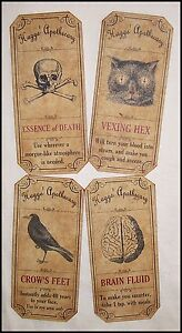Set Of 12 Vintage Look Apothecary Potion Ingredient Labels Halloween Primitive