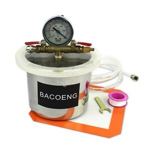 Bacoeng 2 Quart Stainless Steel Vacuum Chamber Silicone Kit For Degassing Res